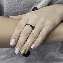 Серебряное кольцо Гарель с двойной шинкой, черной керамикой и дорожками фианитов