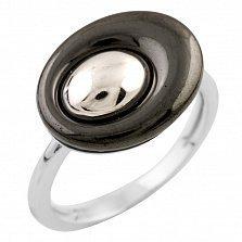 Серебряное кольцо Видана с черной керамикой