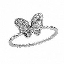 Золотое кольцо в белом цвете с цирконами Батерфляй