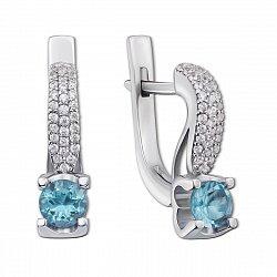 Серебряные серьги Флори с голубыми топазами и фианитами