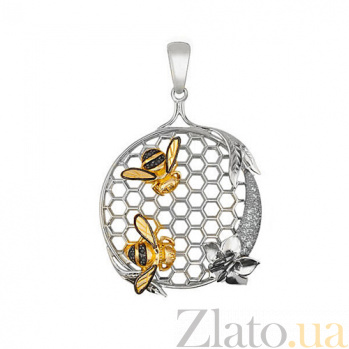 Подвеска Пара пчел из белого золота VLT--Т3416