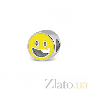 Серебряный подвес-шарм Смайлик с эмалью 000082154