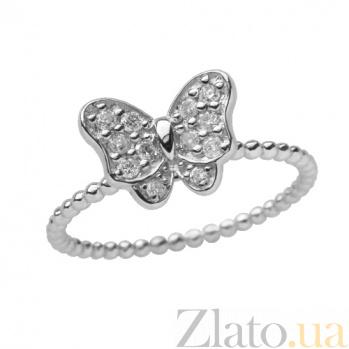 Золотое кольцо в белом цвете с цирконами Батерфляй 000021526