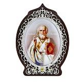 Серебряная икона с фианитами Святой Николай Чудотворец