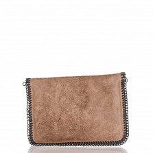 Кожаный клатч Genuine Leather 1009 цвета тауп с цепочкой на плечо