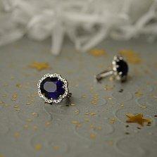 Серебряные серьги Цирцея с ювелирным кристаллом цвета сапфира и фианитами