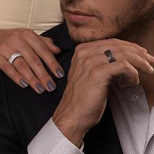 Обручальное кольцо в белом золоте Триумф с черными бриллиантами