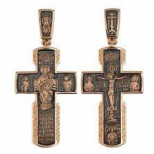 Золотой крестик с черным родием Благостный