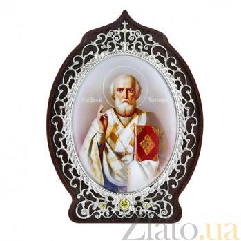 Серебряная икона с фианитами Святой Николай Чудотворец 2.78.0505