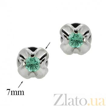 Серебряные серьги-пуссеты Милет с изумрудами ZMX--EE-6558-Ag_K