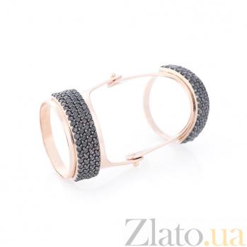 Золотое кольцо Тунис с шинкой на две фаланги и черными фианитами 000082370