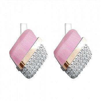 Серебряные серьги с золотыми накладками, розовыми улекситами и фианитами 000095709