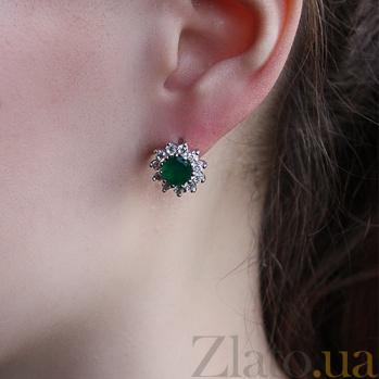 Серебряные серьги Гиана с зеленым агатом и цирконием 000045610