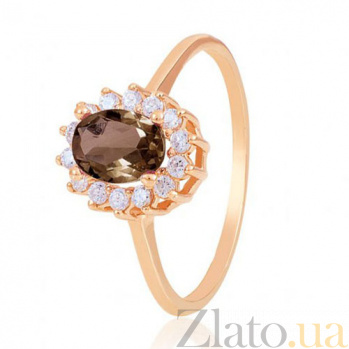 Золотое кольцо Синтия с дымчатым кварцем и фианитами EDM--КД4028РАУХТОПАЗ