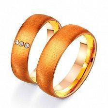 Золотое обручальное кольцо Современная классика с фианитами