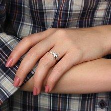 Серебряное кольцо с бриллиантами Пёрышко