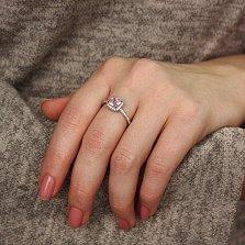 Серебряное кольцо Маркиза с цирконием розового и белого цвета