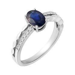 Золотое кольцо в белом цвете с сапфиром и бриллиантами 000118989