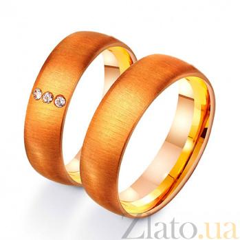 Золотое обручальное кольцо Современная классика с фианитами TRF--412254