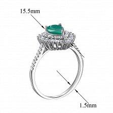 Серебряное кольцо Белла с изумрудом и фианитами