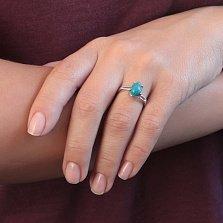 Серебряное кольцо Лагуна с бирюзой и асимметричной шинкой