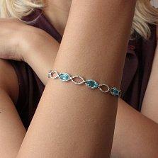 Серебряный браслет Хелена с голубым кварцем и фианитами