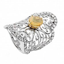 Серебряное кольцо с опалом Кружевная сказка