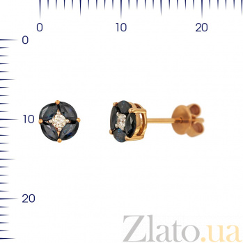 Серьги-пуссеты из красного золота Мэнди с сапфирами и бриллиантом 000081148