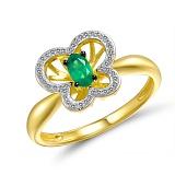 Кольцо Идея из золота с бриллиантами и изумрудом