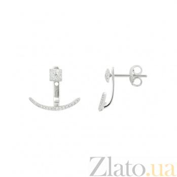 Золотые серьги-каффы с бриллиантами Стильный шик 1С869-0227