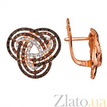 Золотые серьги с фианитами Фейерверк VLT--ТТ296-4