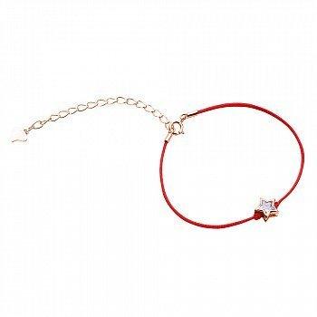 Браслет из серебра и шелковой красной нити Звезда с цирконием и позолотой 000099334