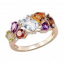 Золотое кольцо Марта с голубым и дымчатым топазом, цитрином, аметистом, перидотом и бриллиантами