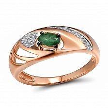 Кольцо из красного золота Литония с бриллиантами и изумрудом