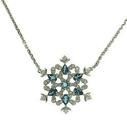 Колье из белого золота с бриллиантами и лондон топазами  Frost 000022434