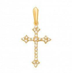 Золотой крестик Альтенда в желтом цвете с фианитами