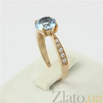 Золотое кольцо с голубым топазом и фианитами Беатриса 000024440