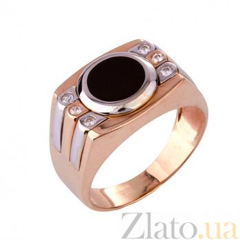 Золотое кольцо-печатка с эмалью и фианитами Фэрн ONX--к01165