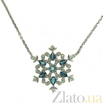 Колье из белого золота с бриллиантами и лондон топазами  Frost ZMX--NDTl-00340w