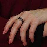 Черное керамическое кольцо-антистресс Милана с крутящейся серебряной дорожкой