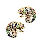 Золотые серьги с бриллиантами, изумрудами, рубинами, сапфирами и цаворитами Хамелеон
