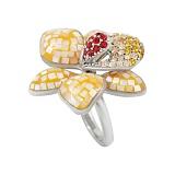 Серебряное кольцо с эмалью, перламутром и кристаллами Swarovski Лилия