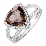 Серебряное кольцо с раухтопазом и фианитами Горизонт