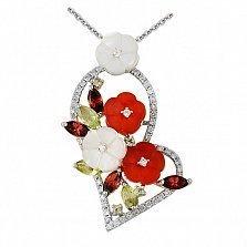 Кулон Расцвет любви в белом золоте с агатами, гранатами, хризолитами и бриллиантами