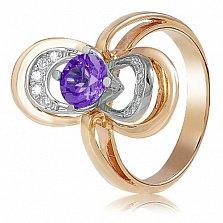 Золотое кольцо с аметистом и фианитами Психея