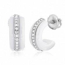 Белые керамические серьги с серебром и цирконием Ронолда
