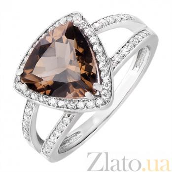 Серебряное кольцо с раухтопазом и фианитами Горизонт 162018/раух
