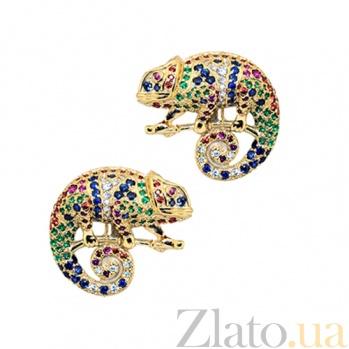 Золотые серьги с бриллиантами, изумрудами, рубинами, сапфирами и цаворитами Хамелеон 000029584