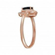 Кольцо Ладонна из красного золота с бриллиантами и сапфиром