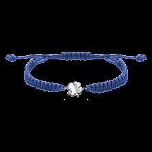Детский плетеный браслет Клевер с cеребряной вставкой и фианитом, 8-8см